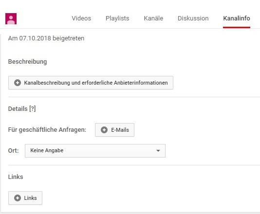 YouTube Kanalbeschreibung hinzufügen