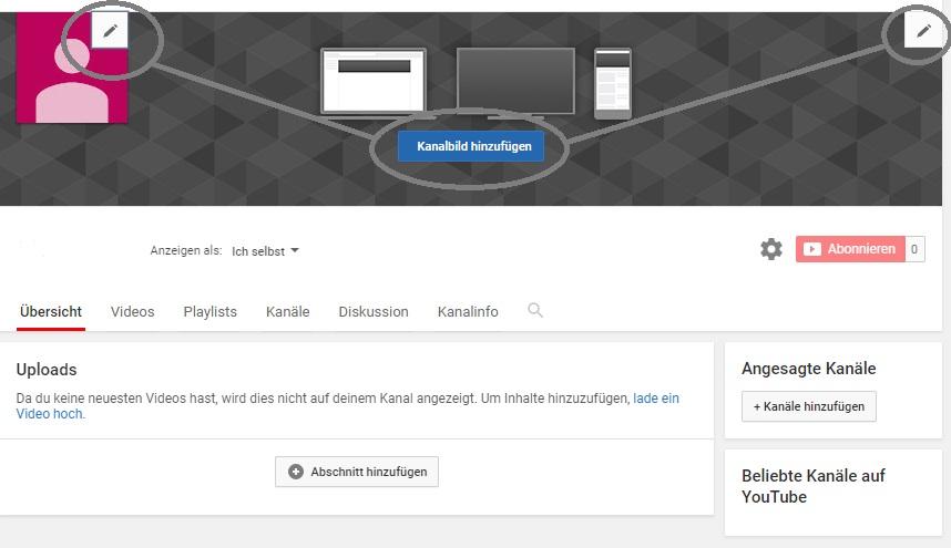 YouTube Kanalbild hinzufügen